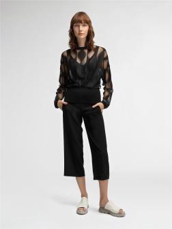 SHEER JACQUARD LACE PULLOVER WITH RIB TRIMS