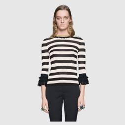 Striped viscose knit top
